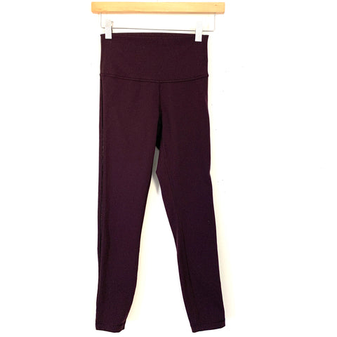 "Lululemon Plum Legging with Exposed Side Seam- Size ~4 (Inseam 24"")"
