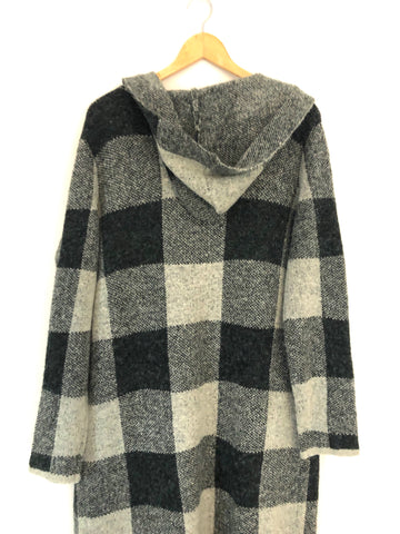 Joseph A Hooded Long Check Cardigan- Size S