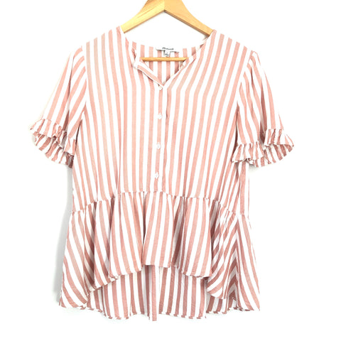 Madewell Candy Stripe Button Up Peplum Short Sleeve - Size S