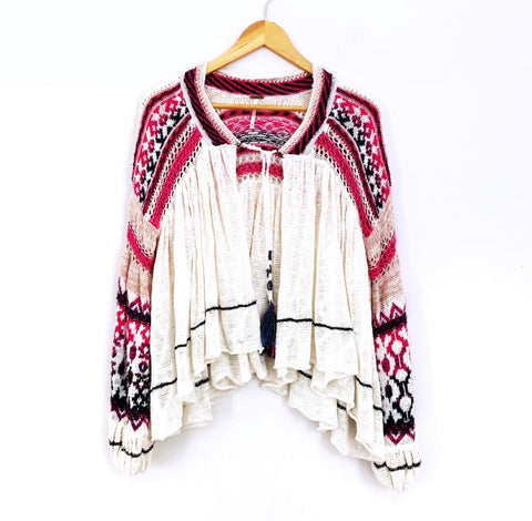 Free People Cream Open Knit Cardigan with Pink and Blue Sleeves- Size XS
