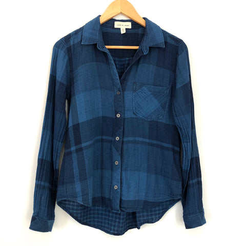 Cloth & Stone Navy Plaid Button Up - Size XS