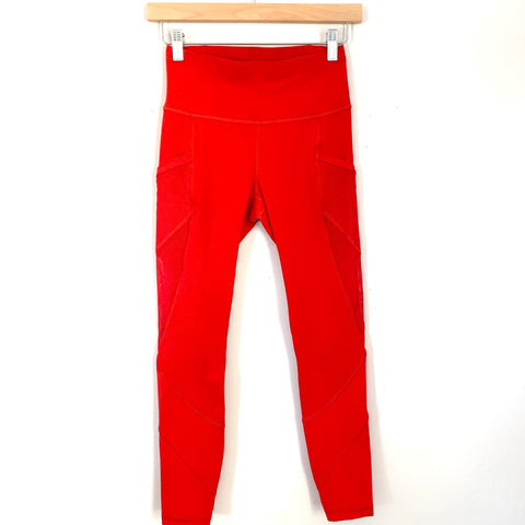 "Lululemon Red Crop Legging with Mesh Side Pockets- Size 4 (Inseam 23.5"")"