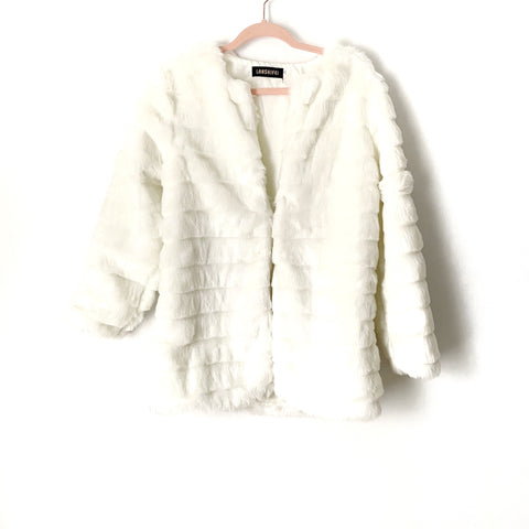 Lanshifei White Faux Fur Jacket- Size XL