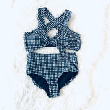 Albion by Black Gingham Criss Criss Top with Removable Cups- Size S (BOTTOMS SOLD SEPARATELY!)