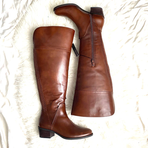 Vince Camuto Brown Leather Wide Calf Boots- Size 8.5 (see notes)