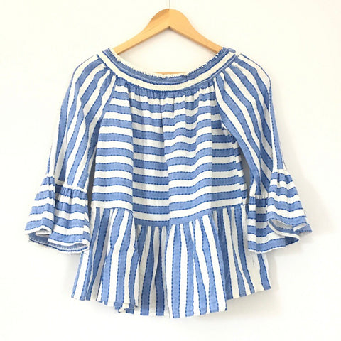Maeve Off the Shoulder Striped Ruffle Sleeve Top- Size XS