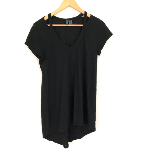 Left of Center Anthro Black Shoulder Cut Out Top with Longer Back- Size XS