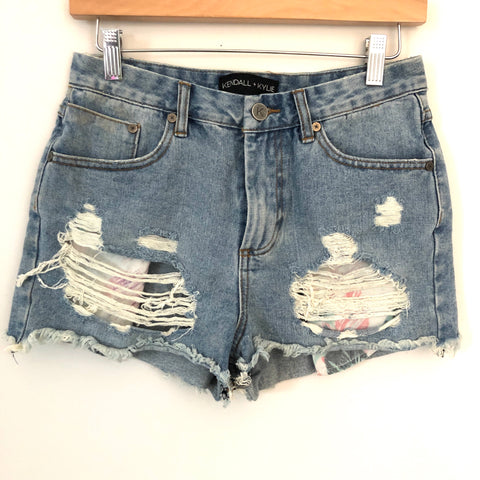 Kendall + Kylie Distressed Shorts with colorful leaf pockets- Size 10