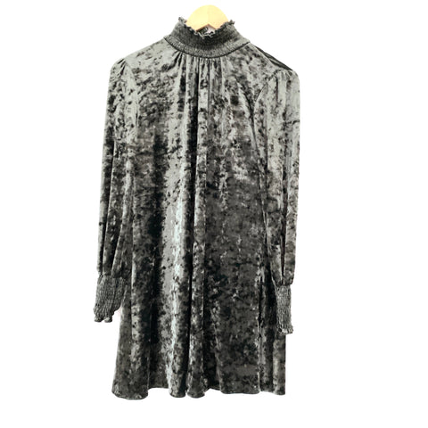 Ali & Jay Olive Crushed Velvet Dress with Neck and Cuff Smocking- Size XS