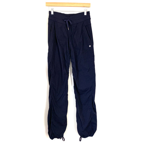 "Lululemon Navy Subtle Stripe Loose Fitting Drawstring Jogger Pants- Size 4 (Inseam 32"")"