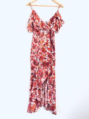 Bardot Maroon and Orange Faux Wrap Dress with Ruffle Sleeves- Size 4