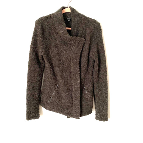 Ann Taylor Charcoal Grey Fuzzy Knit Jacket- Size M