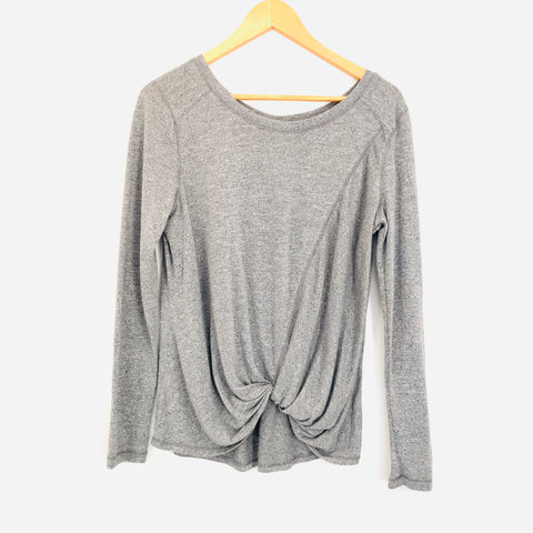 Zella Heathered Long Sleeve Grey Front Twist Top- Size S