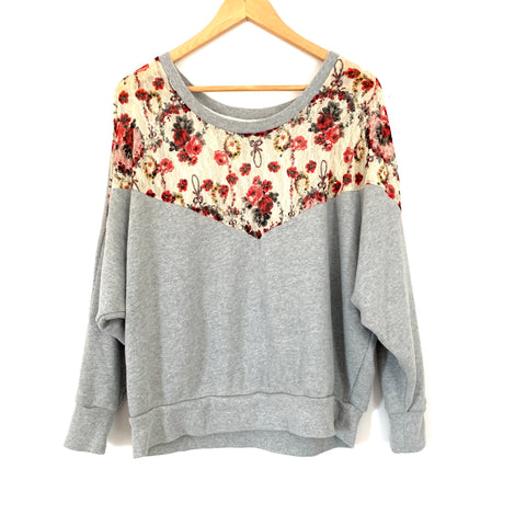 Free People Grey Sweatshirt with Floral Lace Detail- Size S