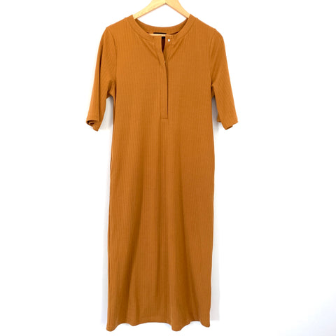 Roolee Rust Colored Ribbed Half Snap Up Dress- Size S