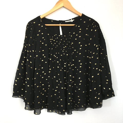 Floreat Anthropologie Black and Gold Polka Dot Bell Sleeve Top- Size S
