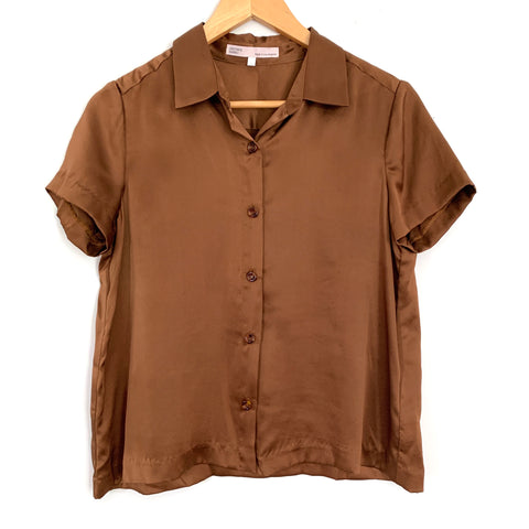 Damaris Bailey Brown Silk Button Up Top- Size S