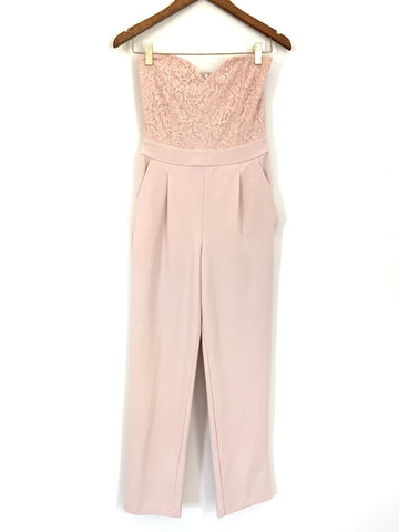Express Light Pink Lace Bodice Strapless Jumpsuit NWT- Size 2