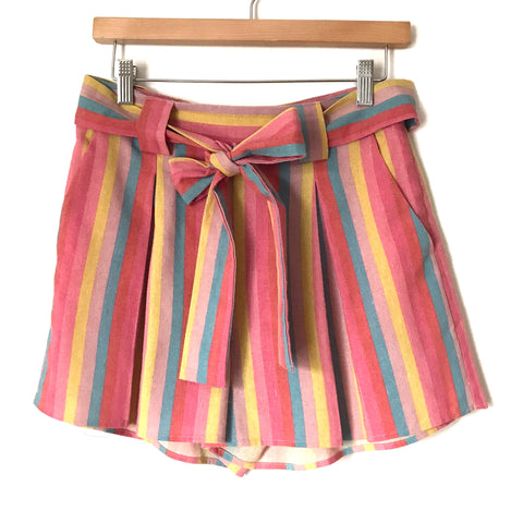 Moon River Striped Belted Shorts- Size S