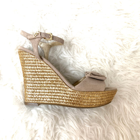 G by Guess Suede Bow Gold Wedge- Size 7