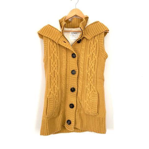 Ci Sono Yellow Knit Vest with Fur Lining and Hoodie- Size L