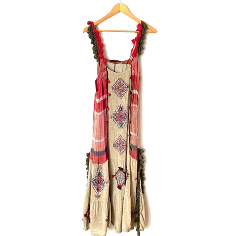 Zara Linen Embroidered Tassel Dress- Size L (see notes)