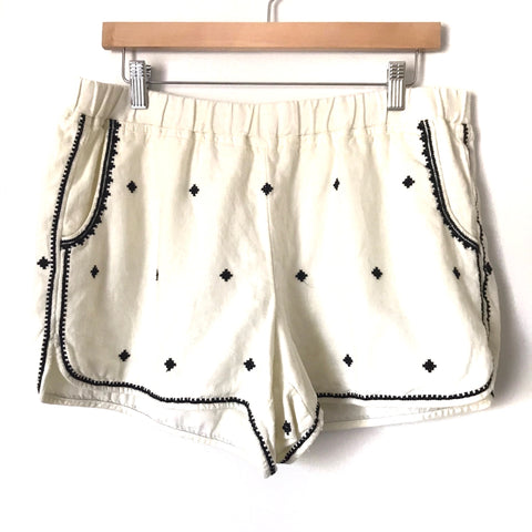Madewell White Embroidered Linen Elastic Waist Shorts- Size L