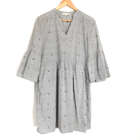 Cooper & Ella Pinstripe Floral Suze Shirting Dress- Size S