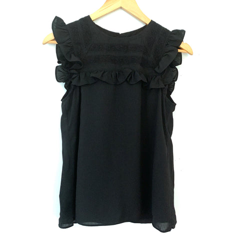 Textile Elizabeth and James Black Lace Ruffle Blouse- Size XS