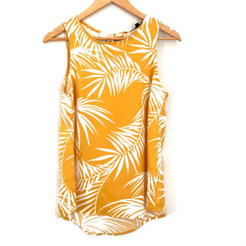 Gibson Yellow Palm Print Tie Back Blouse NWT- Size XS