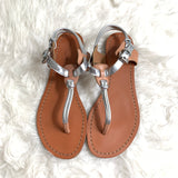 Coach Tan & Silver Leather Sandal- Size 5.5
