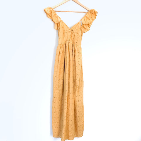 Chicwish Mustard Eyelet Midi Dress- Size ~S