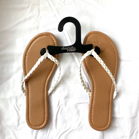 3f3bd40c7 Charlotte Russe Tan Flip Flops with White Braided Straps NWT- Size 6