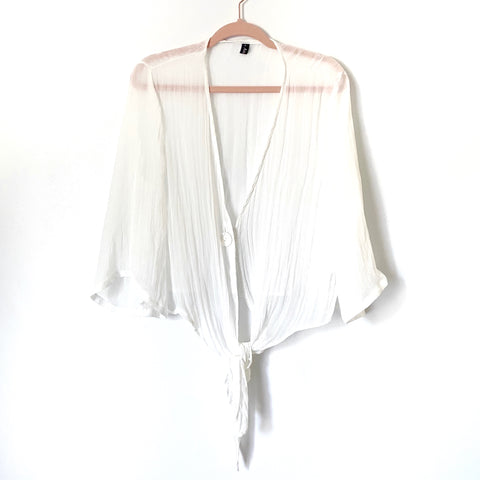 Amaryllis White Sheer Tie Front Top- Size L (see notes)