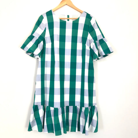 No Brand Green Gingham Ruffle Hem Dress with Belt- Size ~S