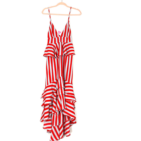 Buddy Love Red & Grey Striped Ruffle High/Low Dress NWT- Size XS
