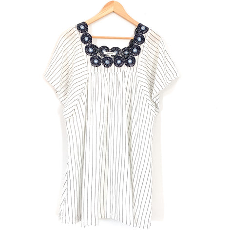 Madewell White Striped Dress with Navy Embroidered Medallion- Size S