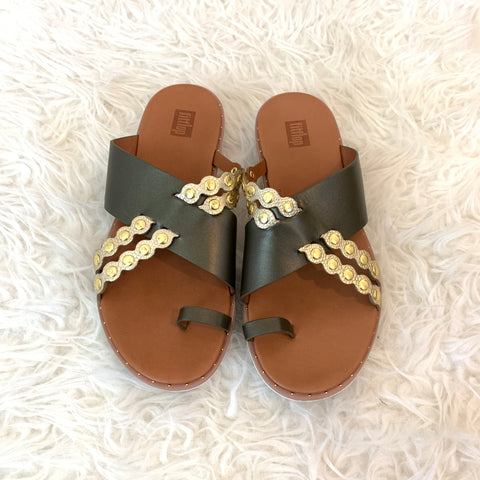 Fitflop Olive Scalloped Slide Sandal- Size 7