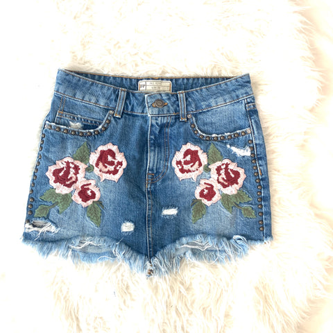 Free People Denim Embroidered Cut Off Skirt- Size 25