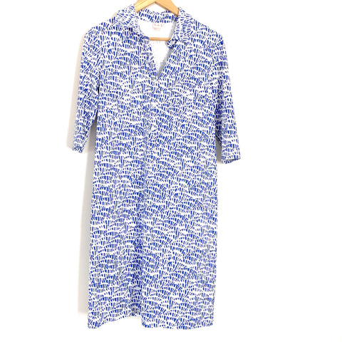 Persifor Dress White & Blue Patterned Dress with 3/4 Sleeves and Pockets- Size S