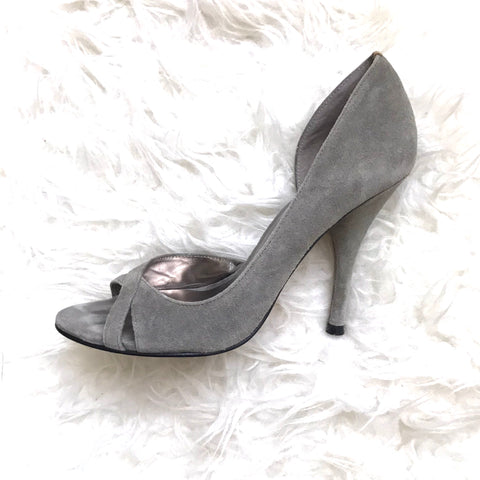 BCBGMaxazria Suede Peep Toe Heels with Leather Sole- Size 6