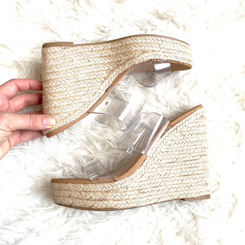 Soda Clear Double Strap Espadrille Wedges- Size 7.5 (LIKE NEW)