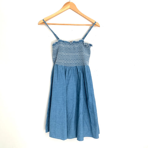 ASOS Smocked Chambray Dress- Size 2