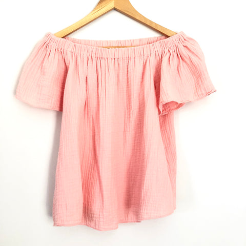 Rebecca Taylor Coral Off the Shoulder Gauzy Blouse - Size 4