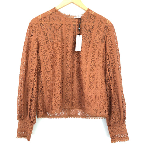 Heartloom Rust Lace Blouse with Bubble Sleeve NWT- Size S