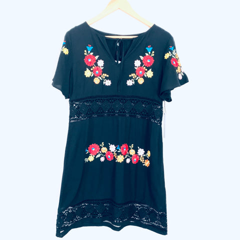 Forever 21 Black Embroidered Dress with Lace Cutout NWT- Size S