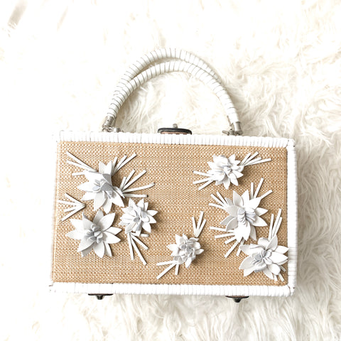 Patricia Nash White Floral Wicker Box Lamezia Bag (with optional chain and dust cover)