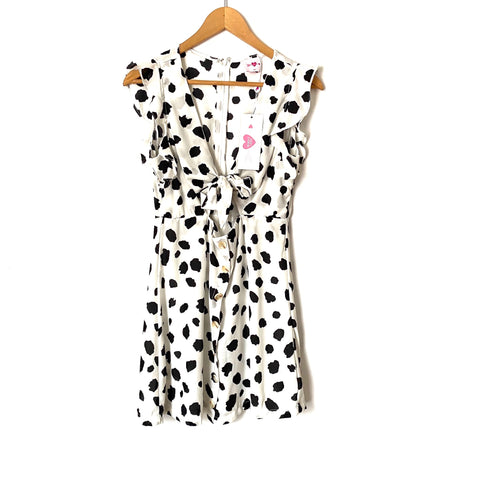Buddy Love Dalmatian Print Button Up Tie Front Dress NWT- Size S