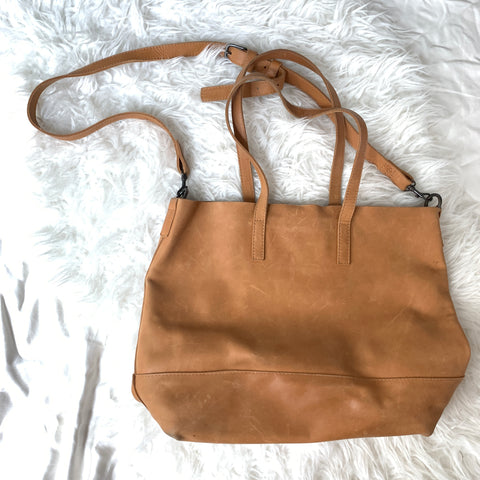 ABLE Abera Crossbody Tote In Cognac *see photos for signs of wear