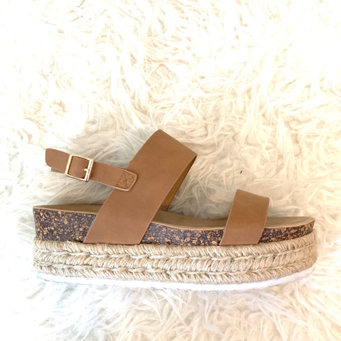 DBDK Fashion Tan Cork Espadrilles- Size 7
